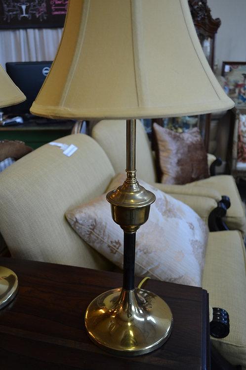 Lamp- Brass base, black/ brass neck, silk mustard shade