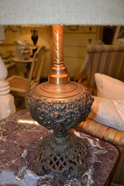 Lamp- Antique rewired! Lattice base with cherub embossed orb