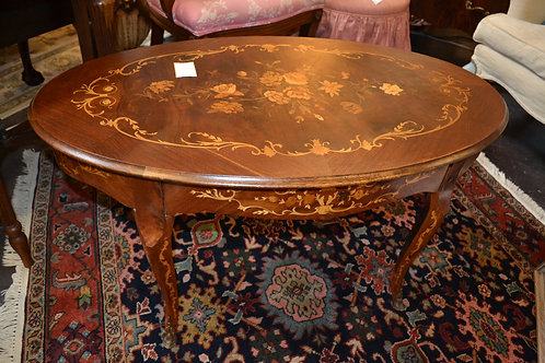 Oval coffee table, marquetry