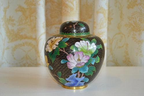 Black cloisonne ginger jar