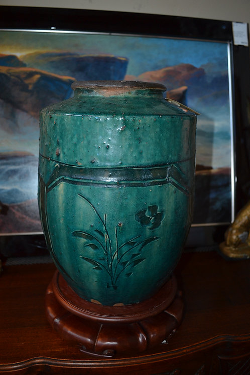 """ANTIQUE CHINESE POTTERY- TURQUOISE JAR - 12"""""""