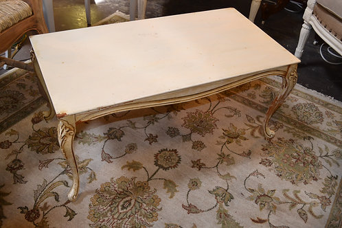 SWEET PETITE PAINTED FRENCH CARVED COFFEE TABLE