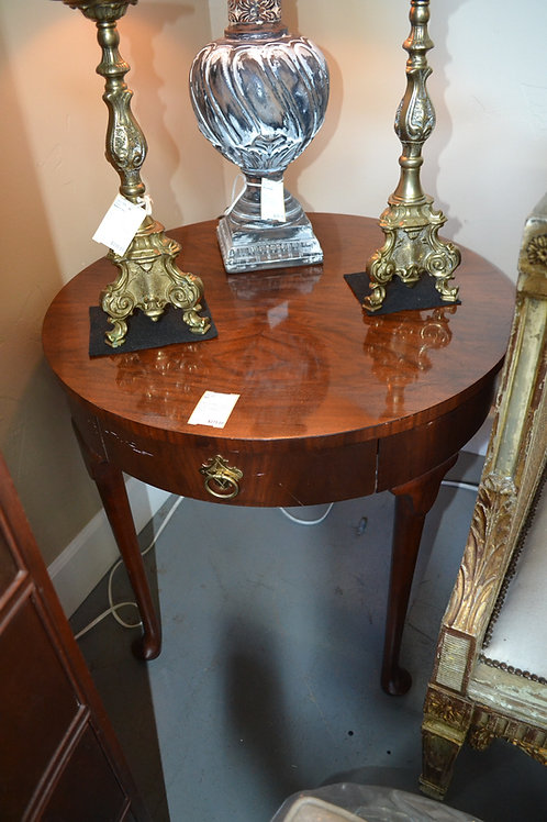 BAKER MAHOGANY ROUND SIDE TABLE WITH DRAWER