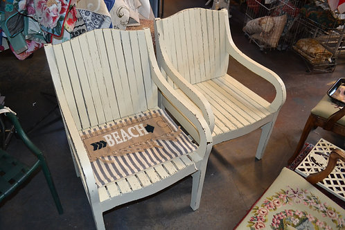 PAINTED SHABBY SLATTED ARM CHAIR