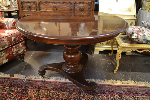 Baker pedestal mahogany dining table w casters