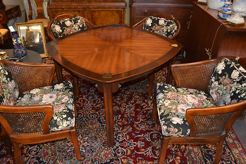 Drexel Heritage game or dining set with 4 cane back chairs with casters