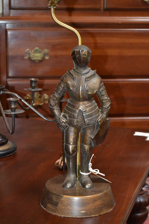Lamp- Antique solid bronze knight in armor lamp