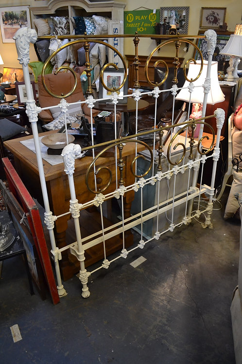 Antique f/d bed frame, white & brass lions