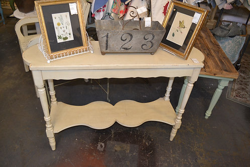 SHABBY CREME FRENCHIE SOFA TABLE W LOWER SHELF
