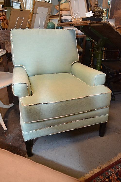NEWLY REUPHOLSTERED TEAL CHAIR
