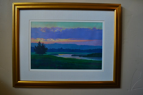 Art- Acrylic, vibrant sunset river landscape, Paul Bradford