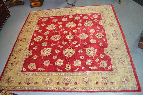 "Red and Gold Hand Knotted Oriental Tabriz Carpet 6' 6"" x 6' 8"""