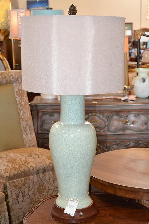 Lamp- Tall crackled celadon ginger jar lamp