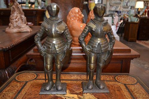 Pair! Fantastic bronze knight sculptures