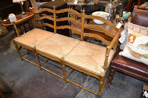 FRENCH STYLE SWEET RUSH SEAT CARVED BENCH