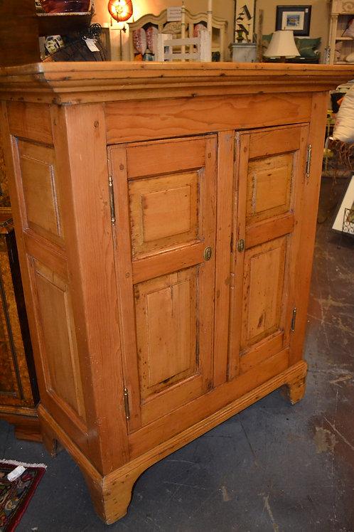 Antique distressed pine two door cabinet