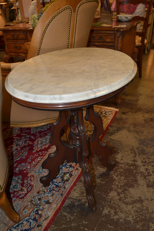 Oval sweet marble top side table