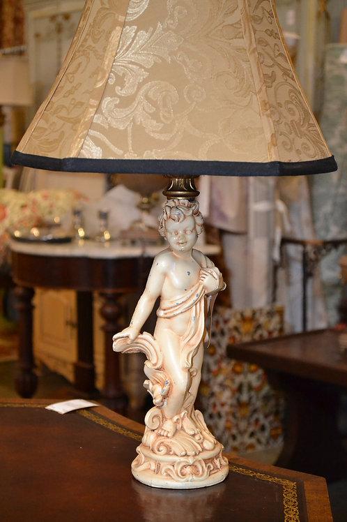 Lamp- Cute antique cast metal cherub