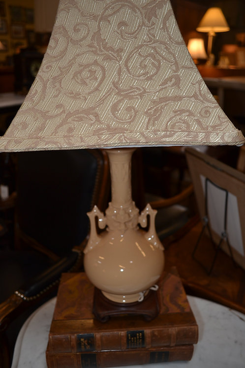 BISQUE STUNNING POTTERY VASE LAMP, DAMASK SHD- 21""