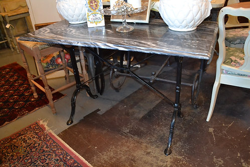 BLACK MARBLE TOP FRENCH BAKER'S TABLE