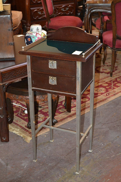 Steel and mahogany side table