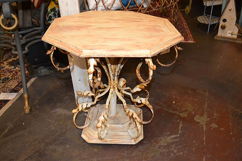 Shabby wood top, curled iron base side table