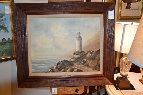 ART- ORIG OIL, LIGHTHOUSE ON ROCKY COAST