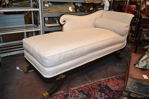 ANTIQUE DECO CHAISE, LINEN, CASTERS