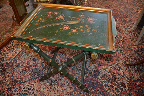 Antique hand painted folding tea tray/side table