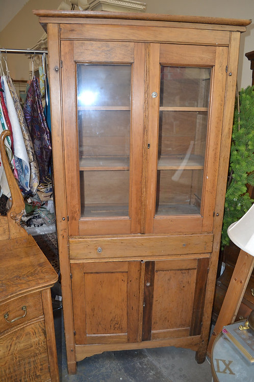 Antique pine kitchen cabinet, glass knobs