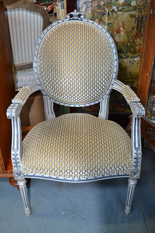 SWEET PAINTED FRENCH FAUTEUIL UPH ARM CHAIR- 23x24x37