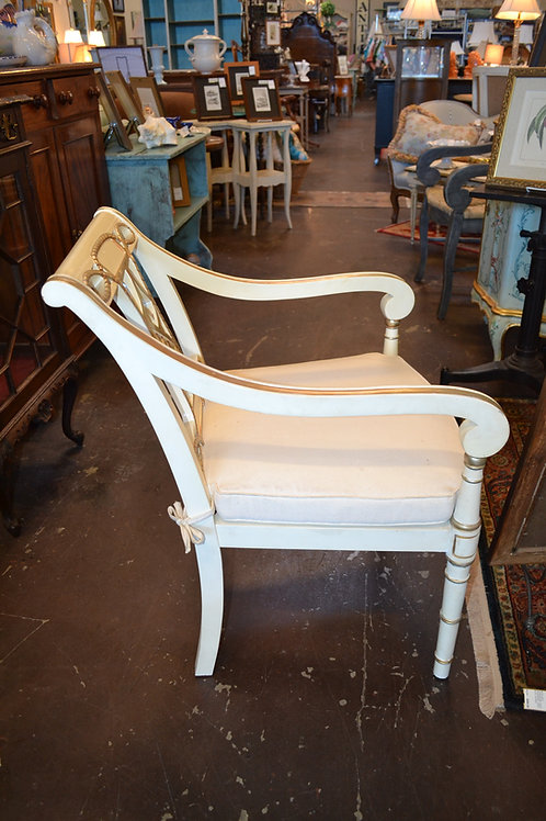 FRENCH STYLE WHITE W GOLD ARMCHAIR