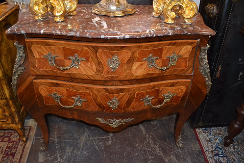 ANTIQUE FRENCH MARBLE TOP INLAY BOMBE CHEST