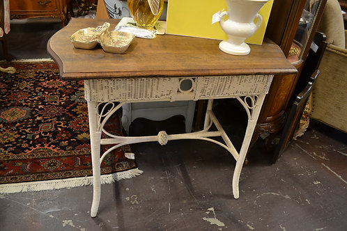 Antique wicker desk with stained top