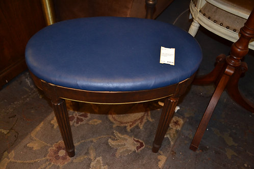 OVAL FRENCH BLUE LEATHER STOOL