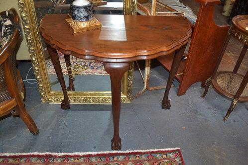 Antique oak demi lune foyer table w ball/ claw legs