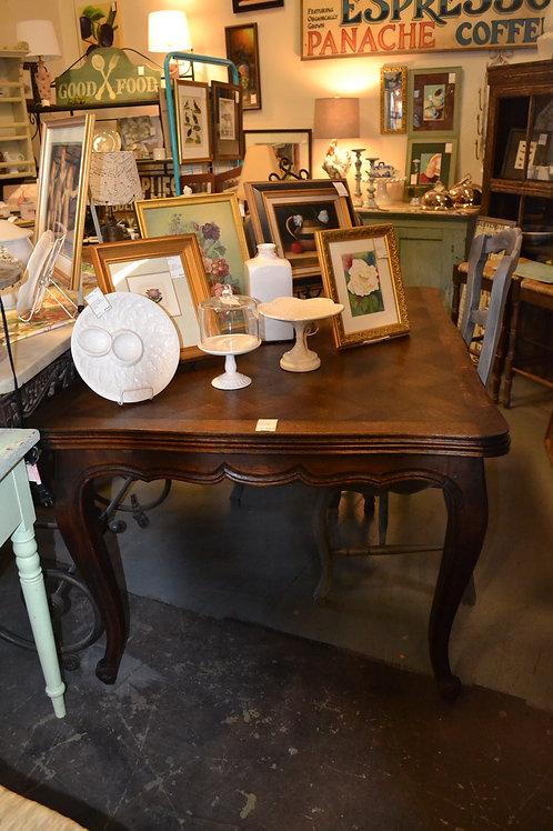 ANTIQUE OAK CHAMBORG FRENCH DRAW LEAF DINING TABLE