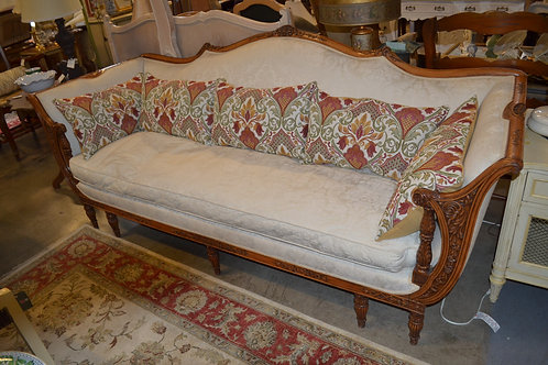 Antique french 9 leg carved down sofa, new upholstery