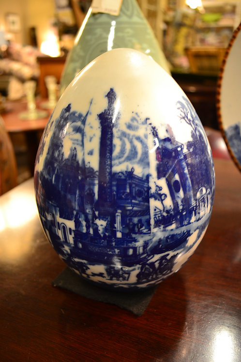 Large blue transferware egg