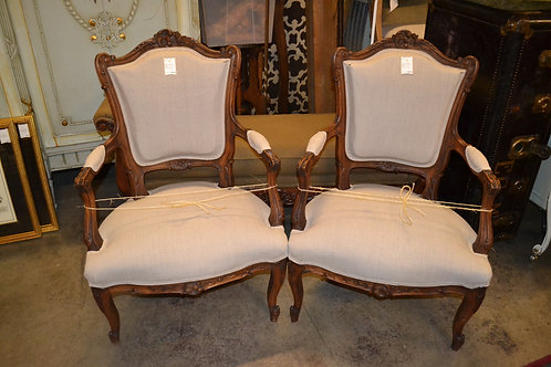 SWEET CARVED FRENCH FAUTEUIL, NEWLY UPHOLSTERED