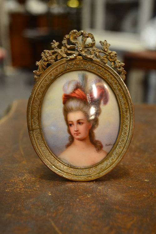 Art- 'Marie Antoinette' painted portrait porcelain signed