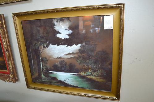 ART- VINTAGE PASTEL, EVE ON THE RIVER