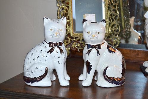 Vintage Staffordshire porcelain cats