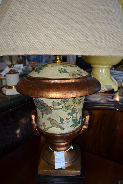 Lamp- Gilded urn with handles & birds, floral, 3-way
