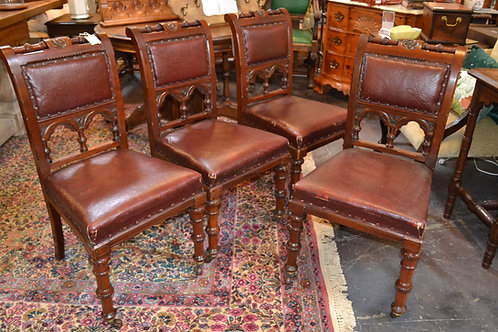Set of 4 ! Stunning antique leather dining chairs
