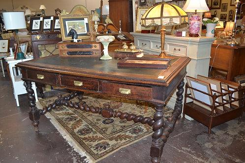 Dark oak English spiral rope desk