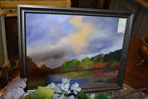 ART- ORIGINAL LOCAL ARTIST OIL, STORMY SKIES OVER FALL RIVER, 12x16