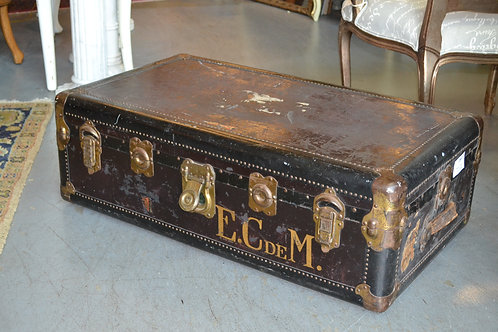 Antique monogrammed traveler's trunk from Paris