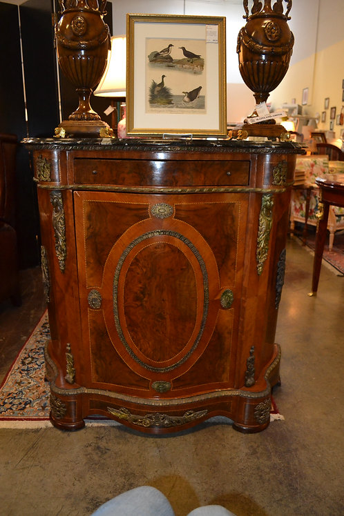 EGYPTIAN REPRO FRENCH FAUX MARBLE (CHIP) TOP CABINET