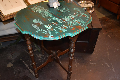 Hand painted mermaid side table, trestle base